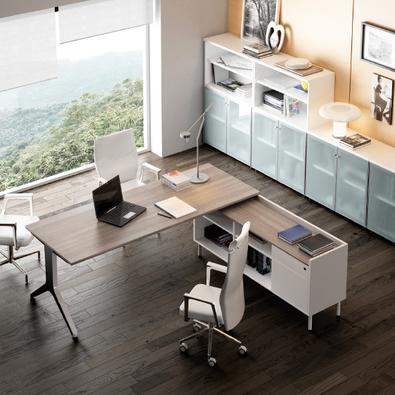 In office reforma de oficinas en barcelona mobiliario for Medidas mesa oficina