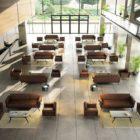 In&Office. Mobiliario de oficina y reformas de oficina en Barcelona. Serie de sofá 3 plazas y sillón para salas de espera y recepción de oficinas. Color marrón